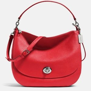 Coach Turnlock Hobo Bag Luxe True Red Leather NWT